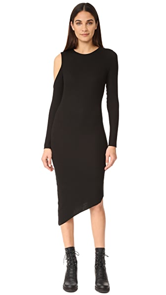 The Hours Cold Shoulder Slit Dress In Black
