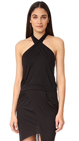 The Hours Wrap Halter Top - Black