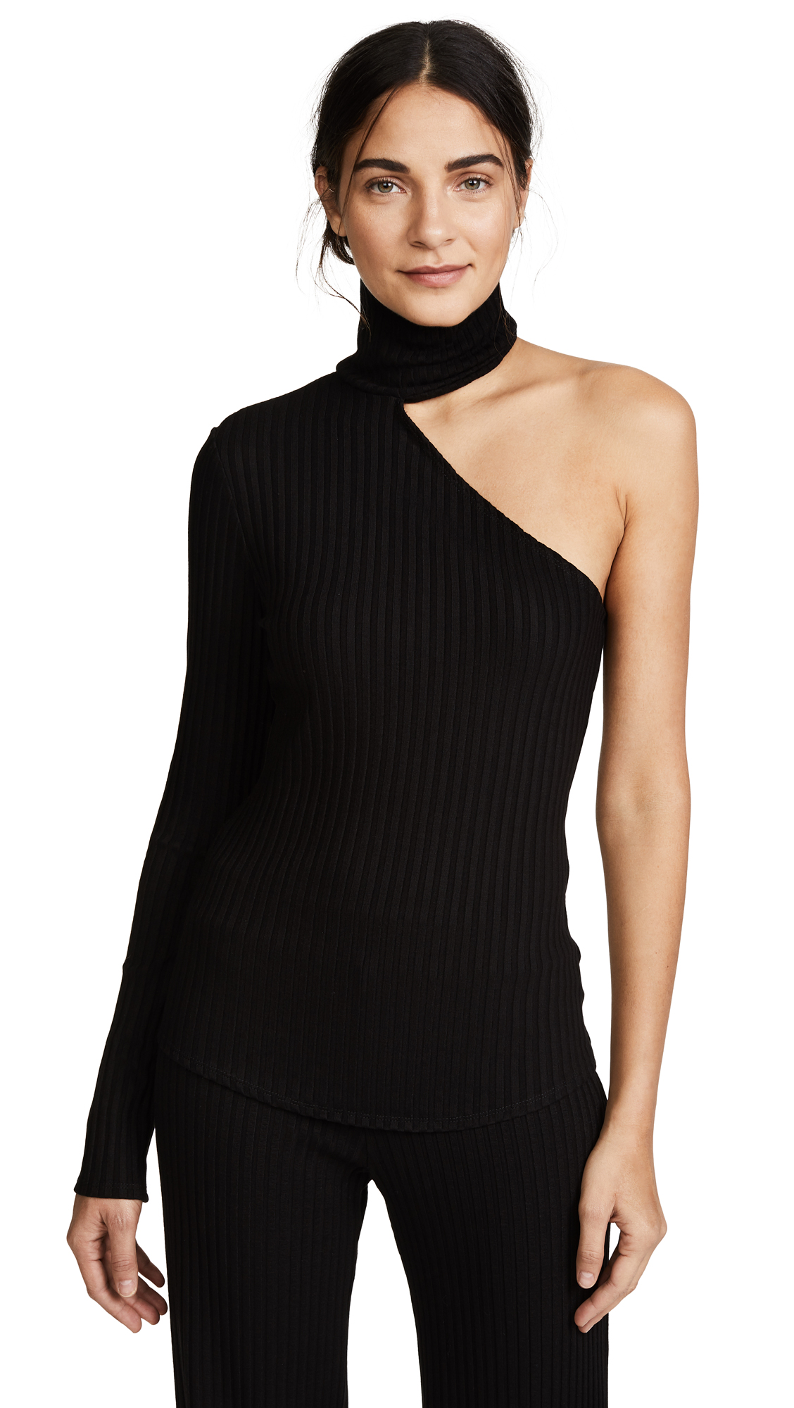 The Range Bare Arm Turtleneck In Black