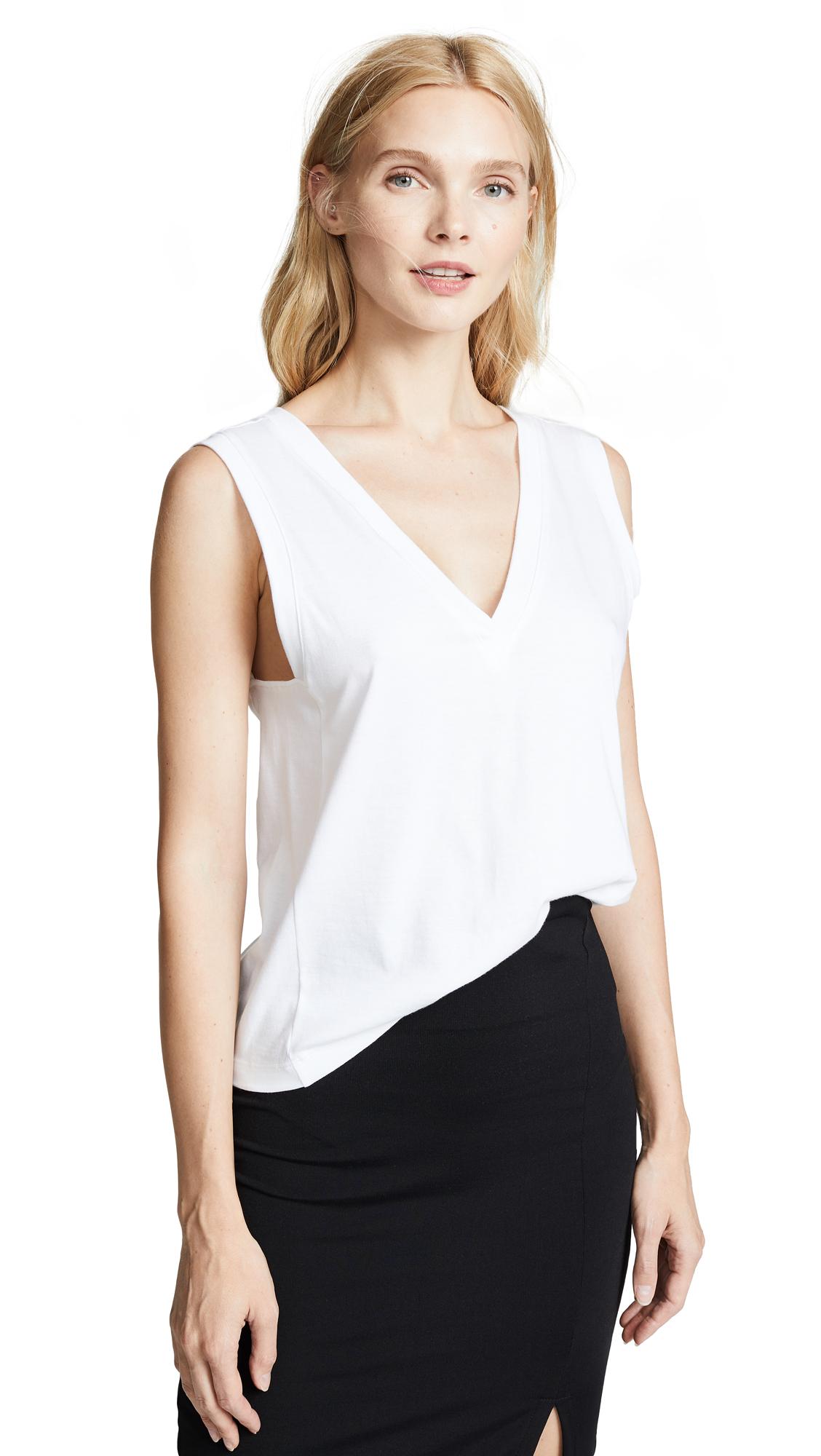 The Range Stark Jersey Sleeveless Double V Top In White