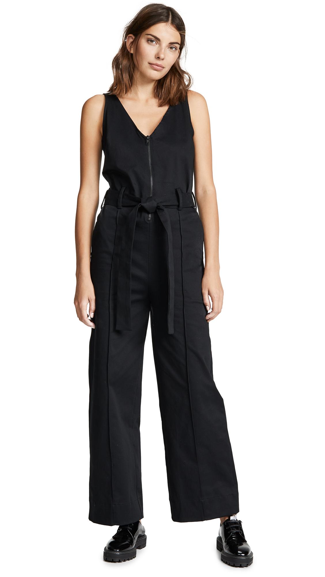 THE RANGE Belted Jumpsuit in Black
