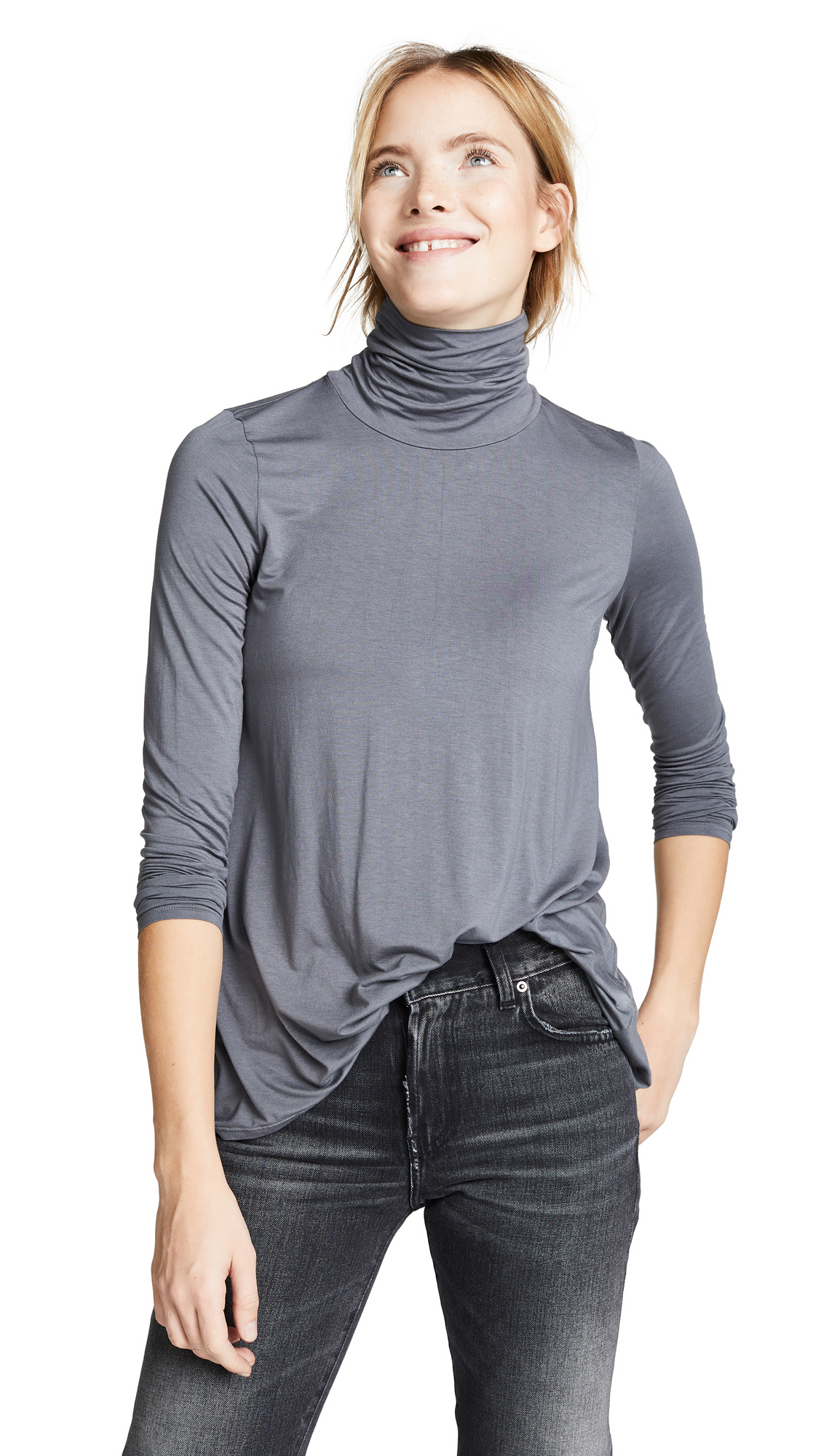 THREE DOTS Relaxed Hi Lo Turtleneck in Marengo
