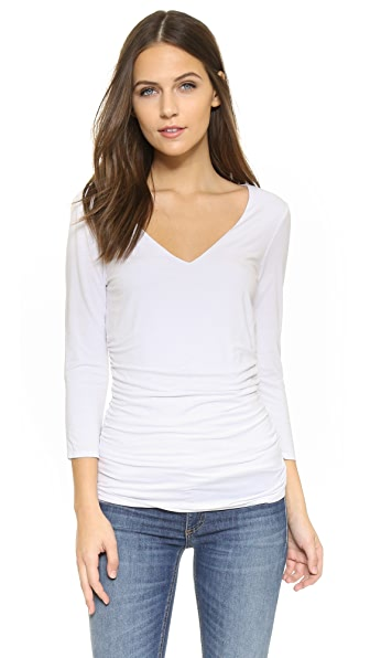 Three Dots Double Layer Top - White