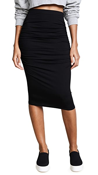 Three Dots Ruched Midi Skirt at Shopbop