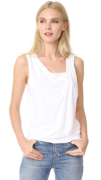 Three Dots Gathered Sleeveless Top In White