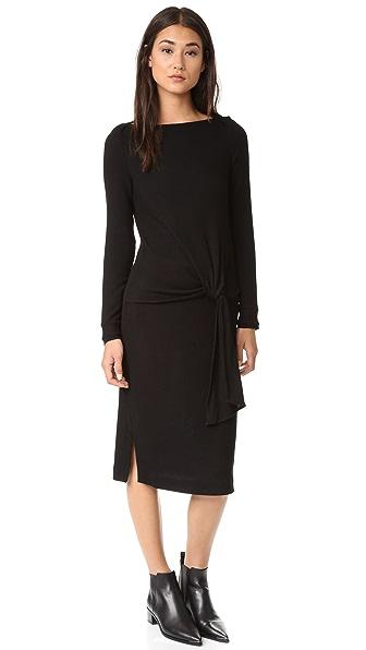 Three Dots Maivy Midi Tie Front Dress - Black