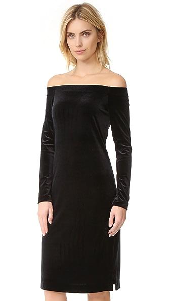 Three Dots Velour Dress - Black