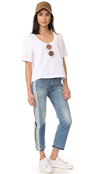 THREE DOTS BOXY TEE, WHITE