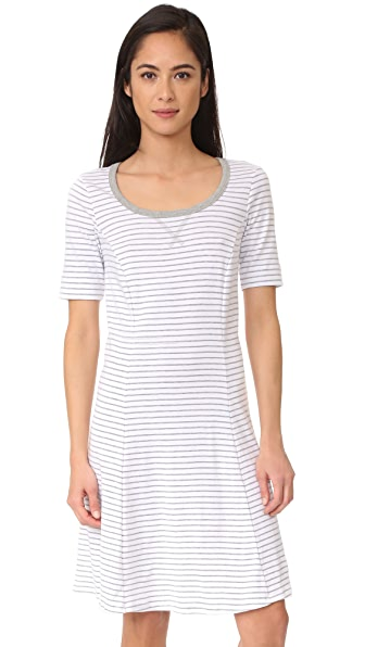 Three Dots Short Sleeve Stripe Dress