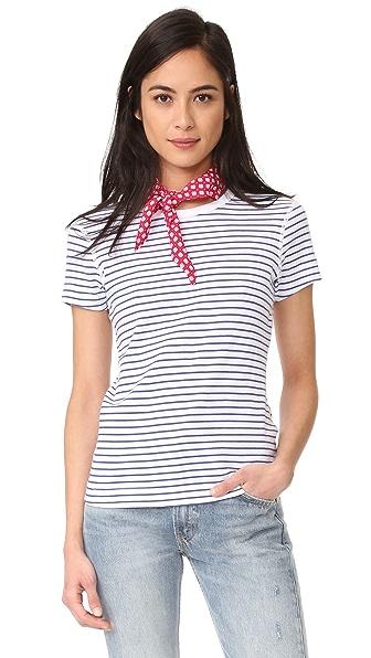 Three Dots Stripe Crew Neck Tee - White/Navy