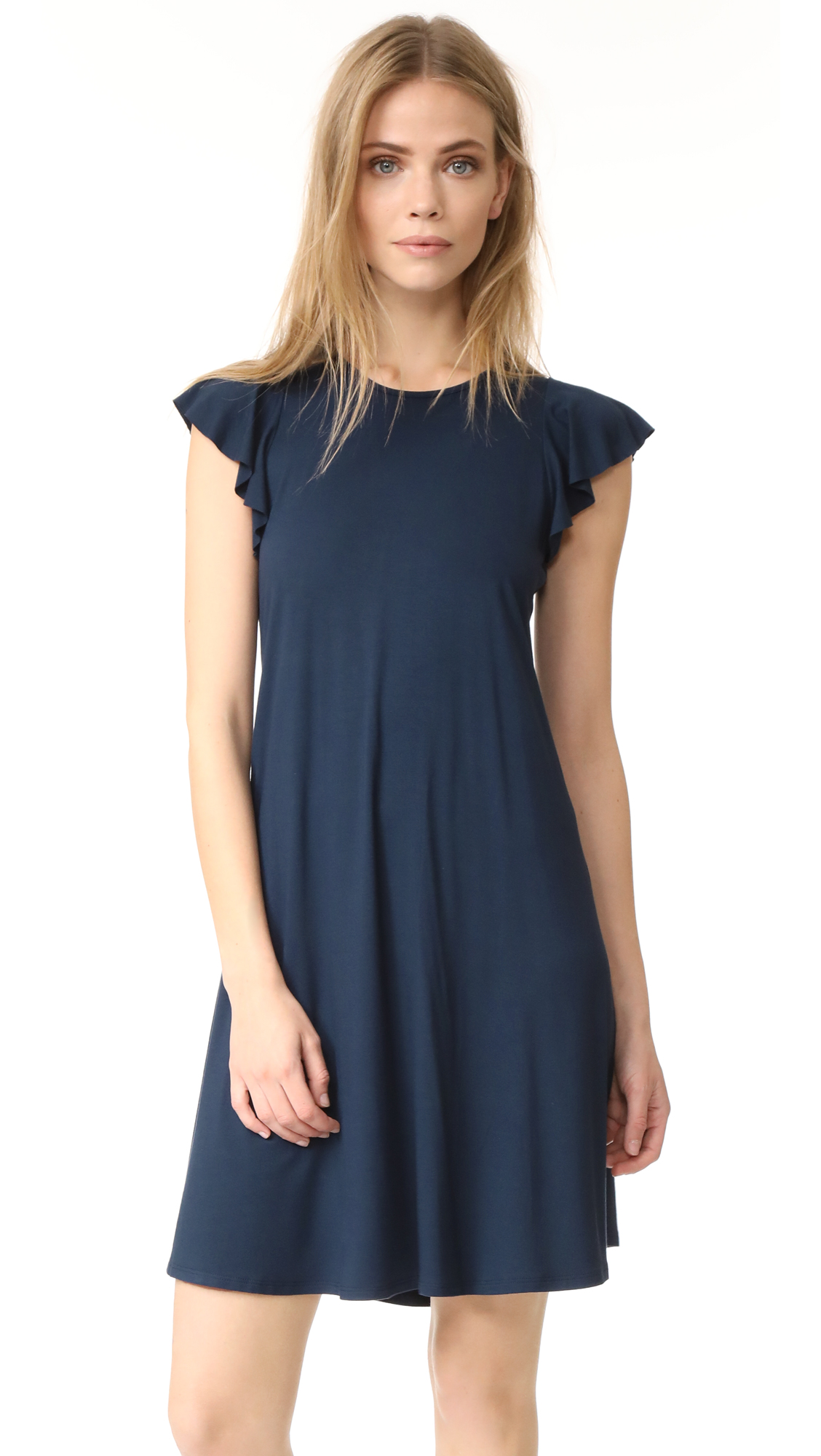 Three Dots Easy Flounce Dress In Night Iris