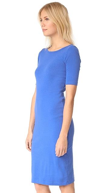 Three Dots Heritage Rib Elbow Sleeve Sheath Dress