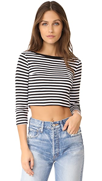 Three Dots 3/4 Sleeve Crop Top