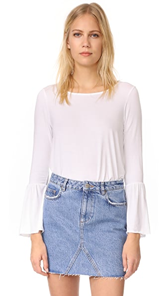 Three Dots Long Sleeve Flounce Top - White