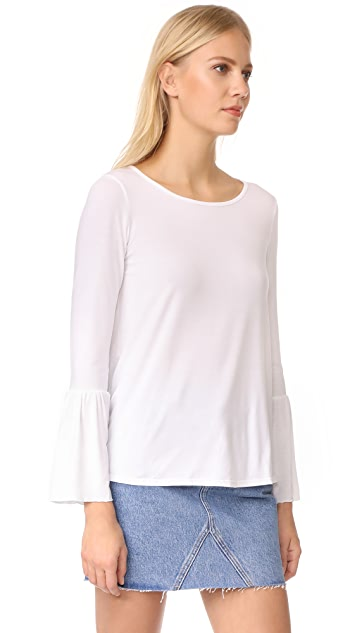 Three Dots Long Sleeve Flounce Top