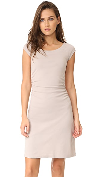 Three Dots Heritage Rib Dress with Ruched Waist