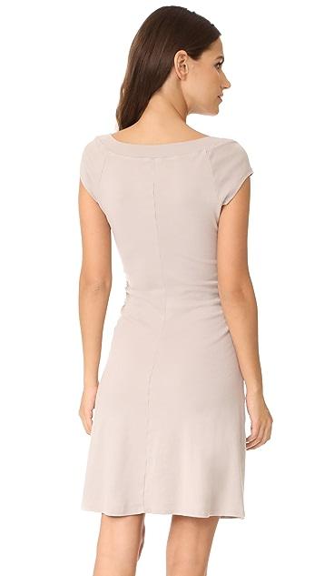 Three Dots Heritage Rib Dress with Ruched Waist