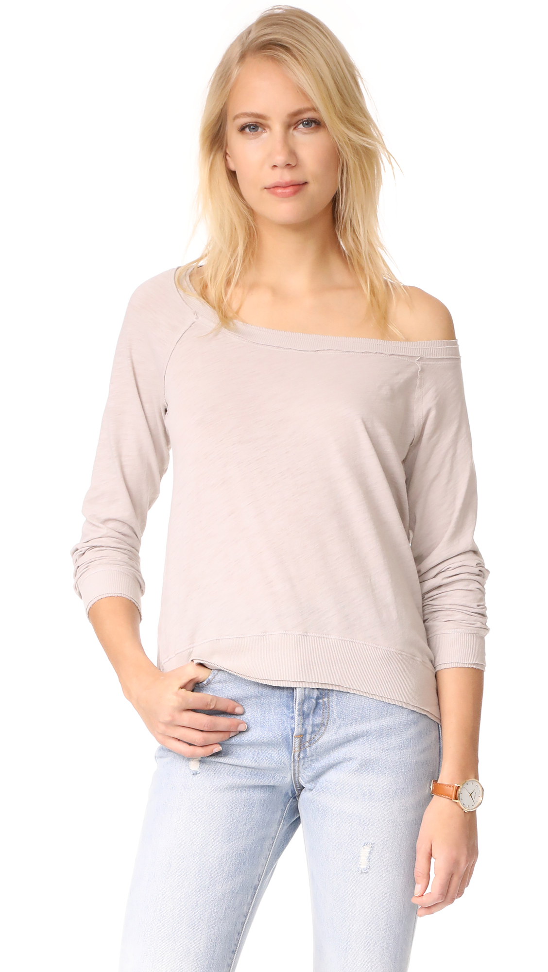 Three Dots Off Shoulder Sweatshirt