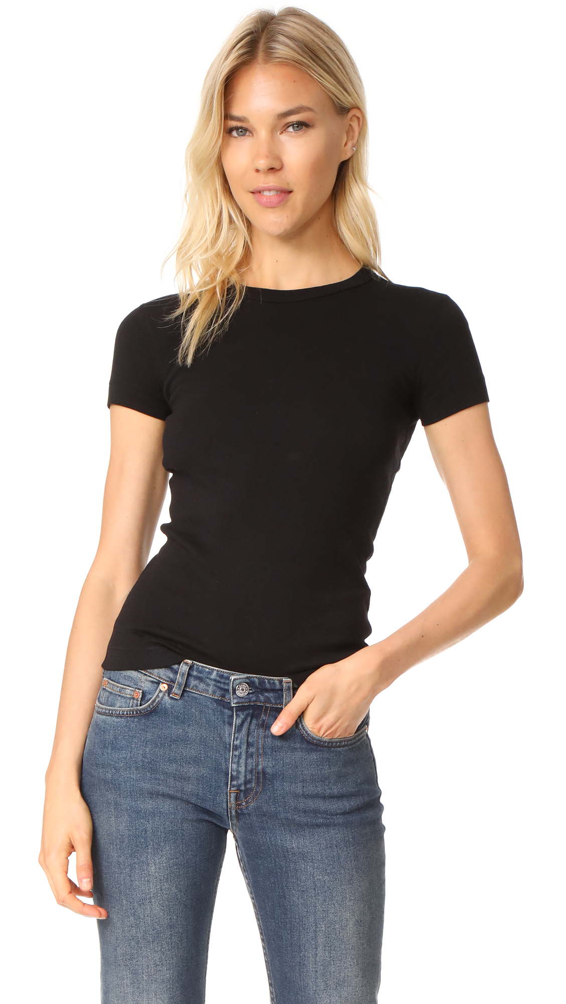 Three Dots Kennedy Short Sleeve Crew Neck Tee In Black