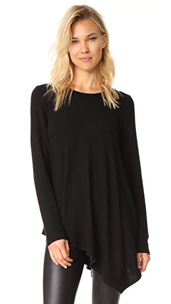 Three Dots Asymmetrical Tunic Sweater - Black