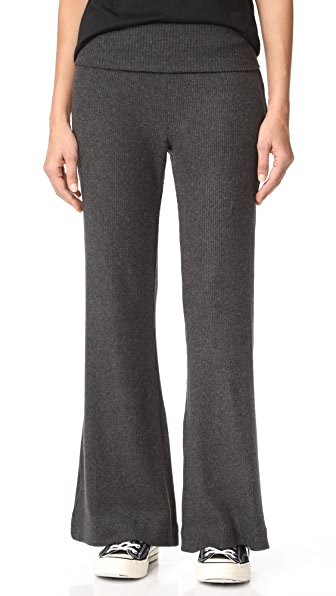 Three Dots Wide Leg Rib Pants In Charcoal