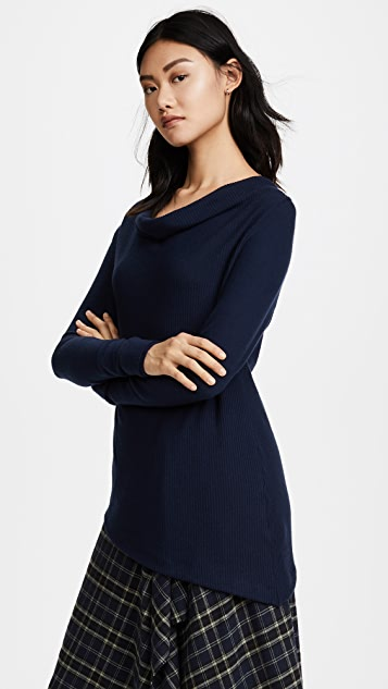 Three Dots Drape Front Asymmetric Sweater