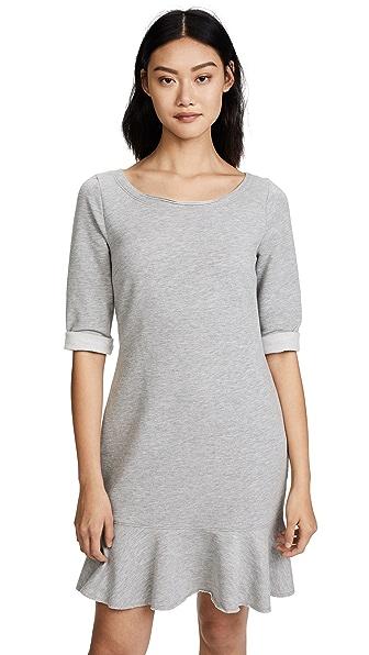 Three Dots Flounce Sweatshirt Dress In Granite