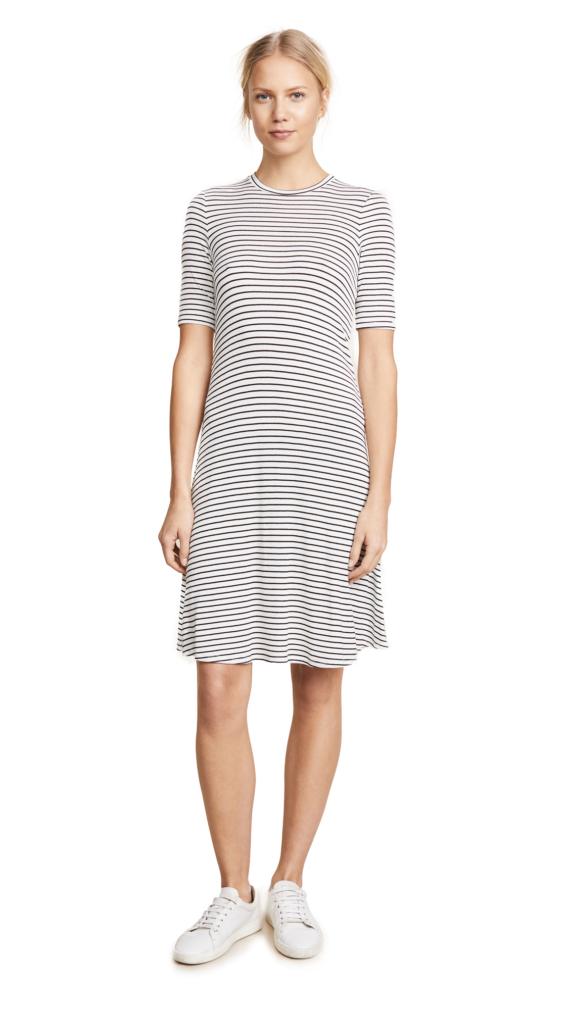 Three Dots Hyannis Stripe Easy Dress In Natural/Black