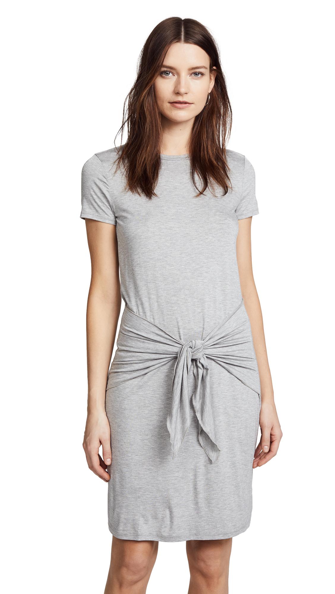Three Dots Big Sur Stripe Tie Front Dress In Granite