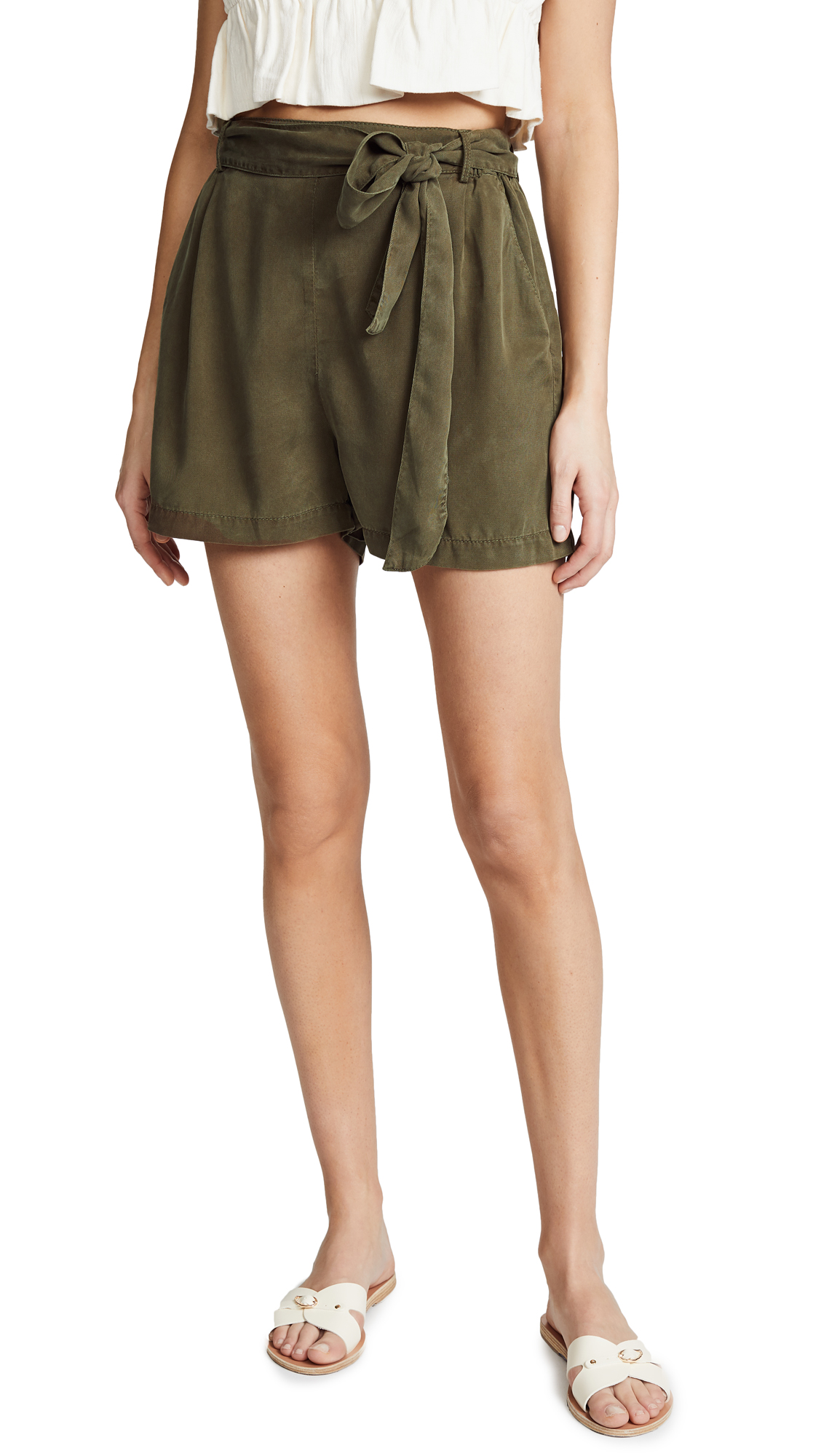 Three Dots Twill Shorts In Olive Branch