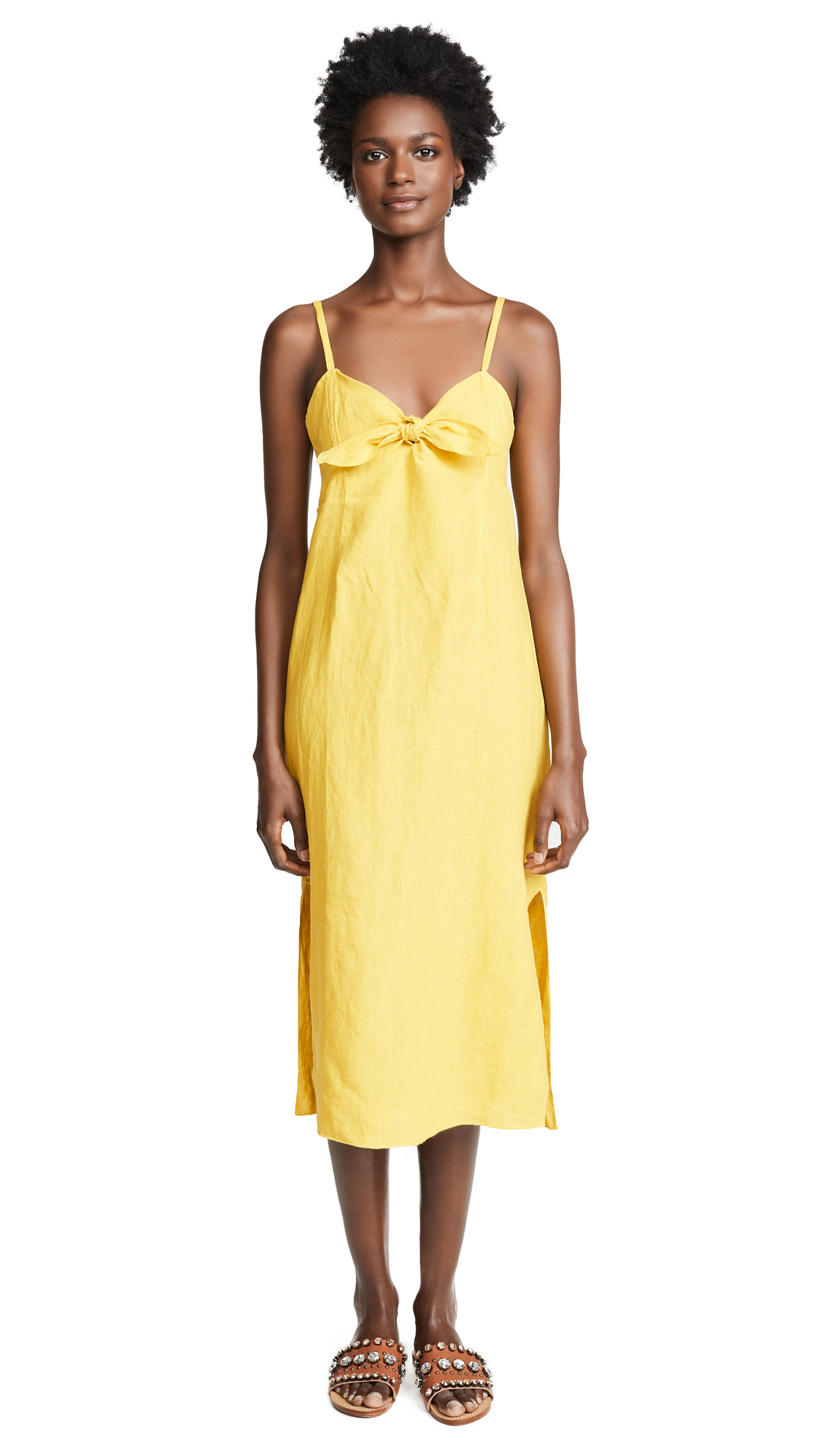 Three Dots Linen Tie Front Midi Dress In Golden Rod