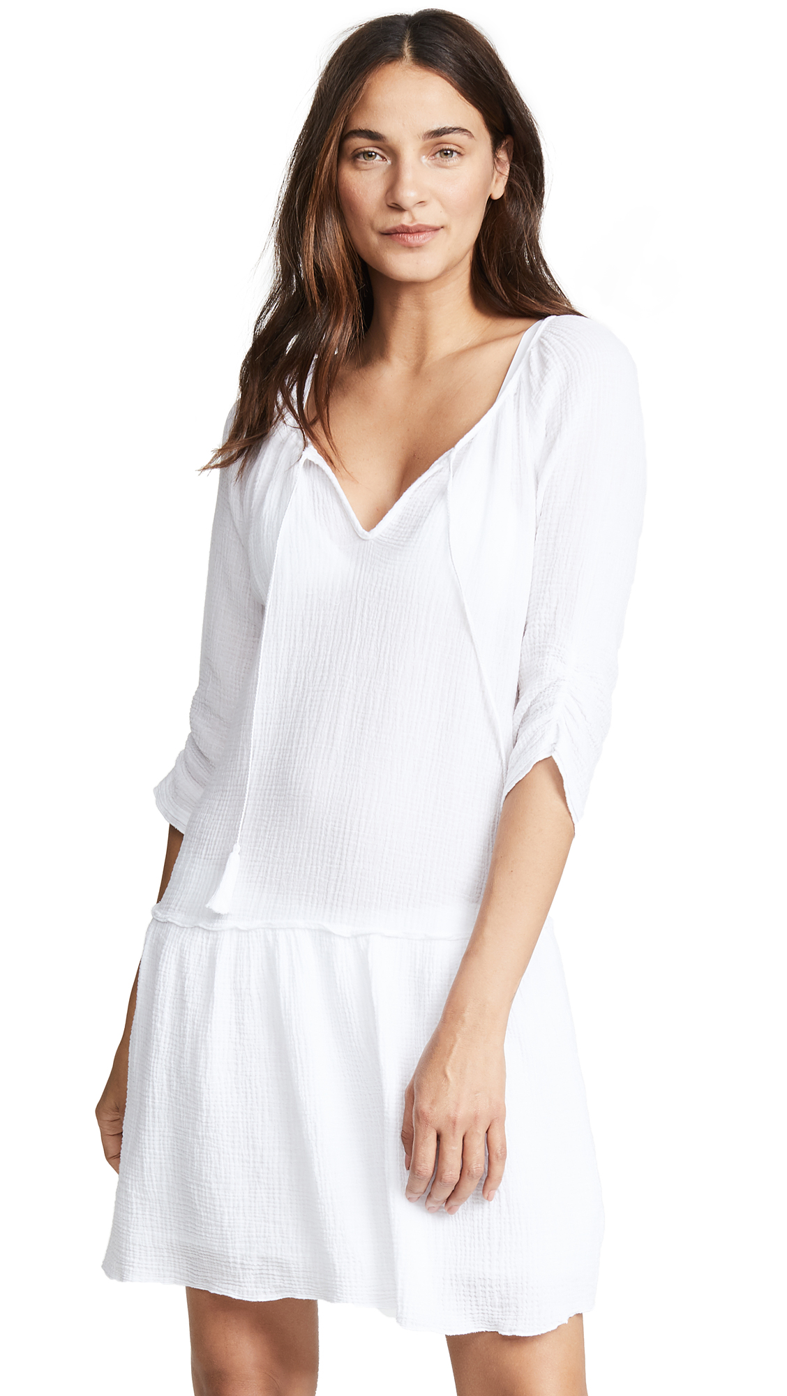 Three Dots Double Gauze Dress In White