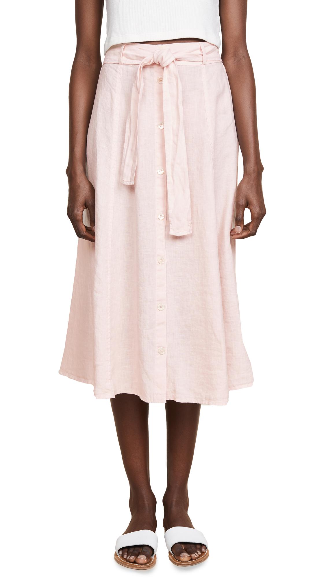 Three Dots Seamed Midi Skirt In Pink Lemonade