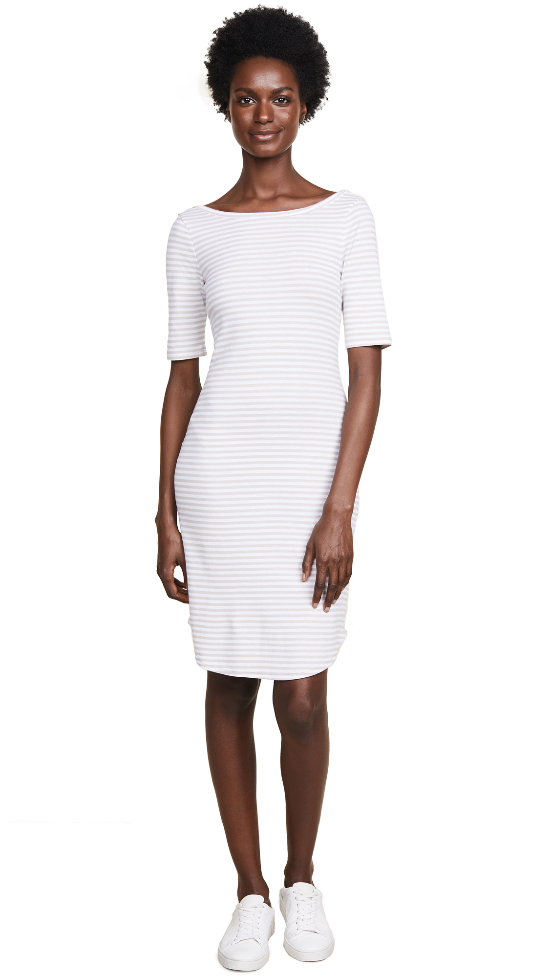Three Dots Scoop Back Dress In Sailcloth