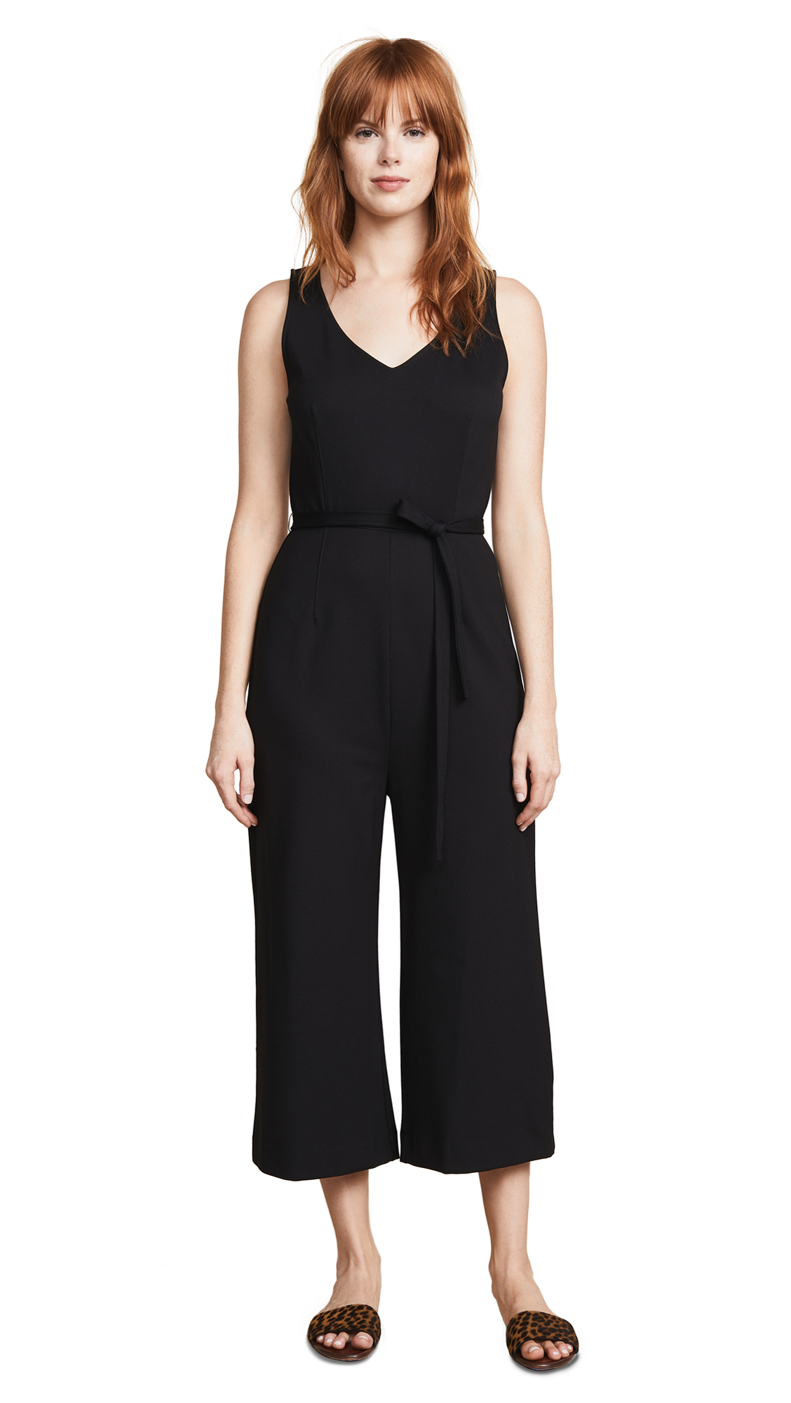Three Dots Sleeveless Ponte Jumpsuit In Black