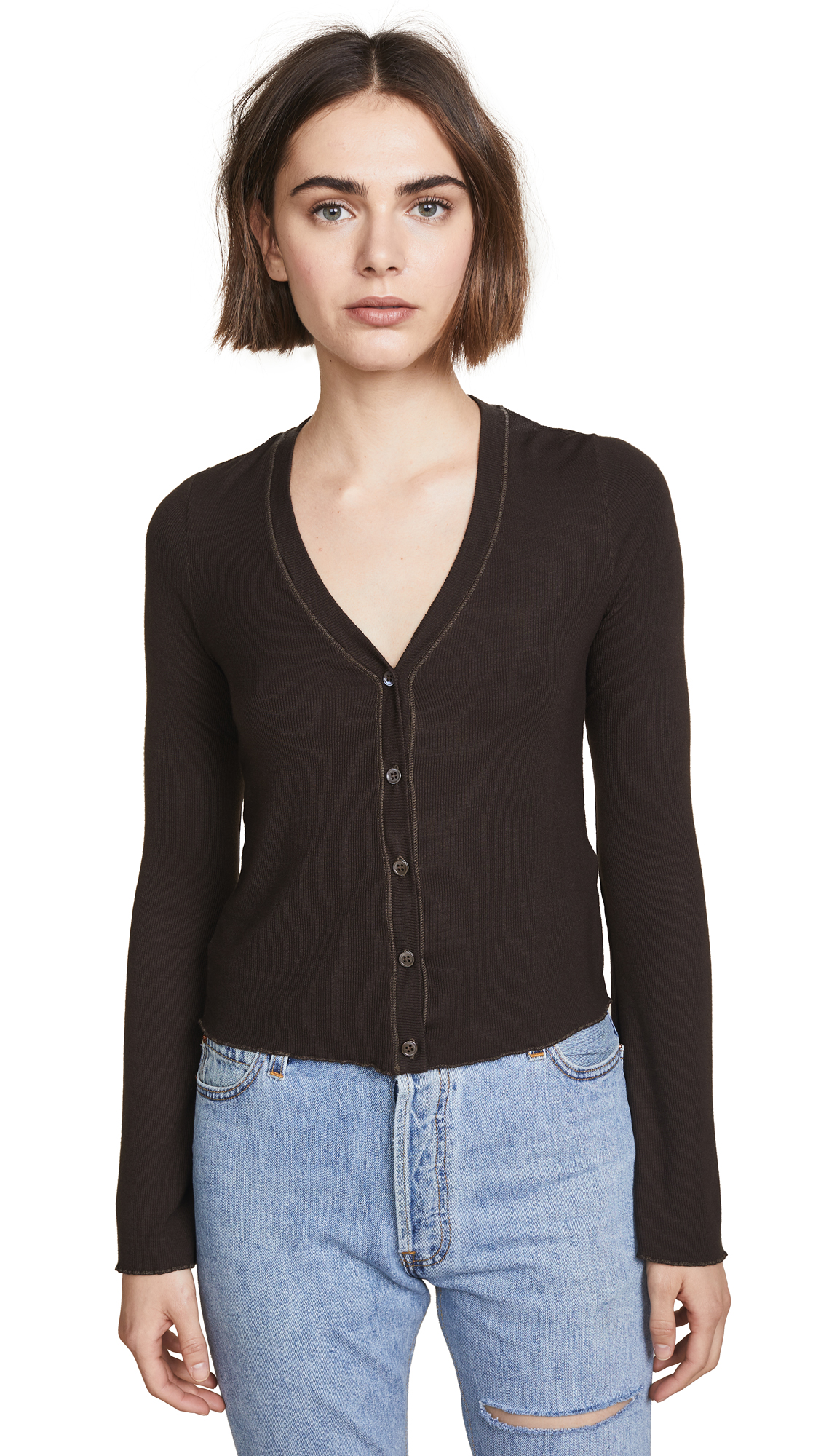 Three Dots Cropped Cardigan with Flared Sleeves In Dark Chocolate