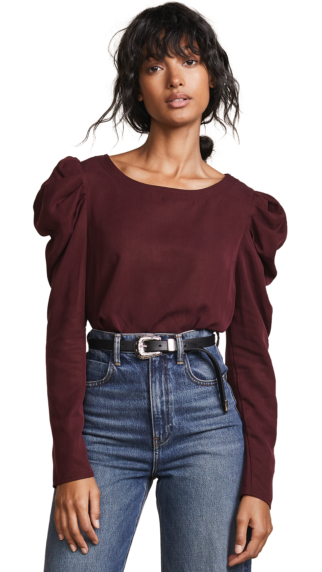 Three Dots Long Sleeve Top With Puff Sleeve - Port Wine