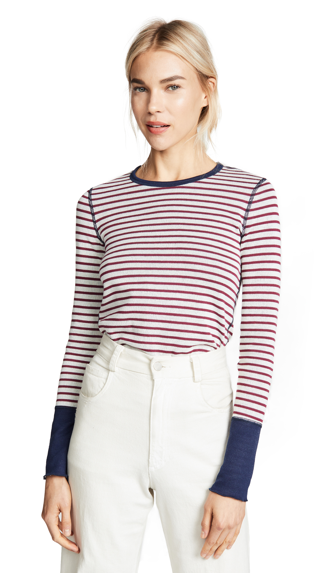 Three Dots Stripe Long Sleeve Top In Rubino/Naural
