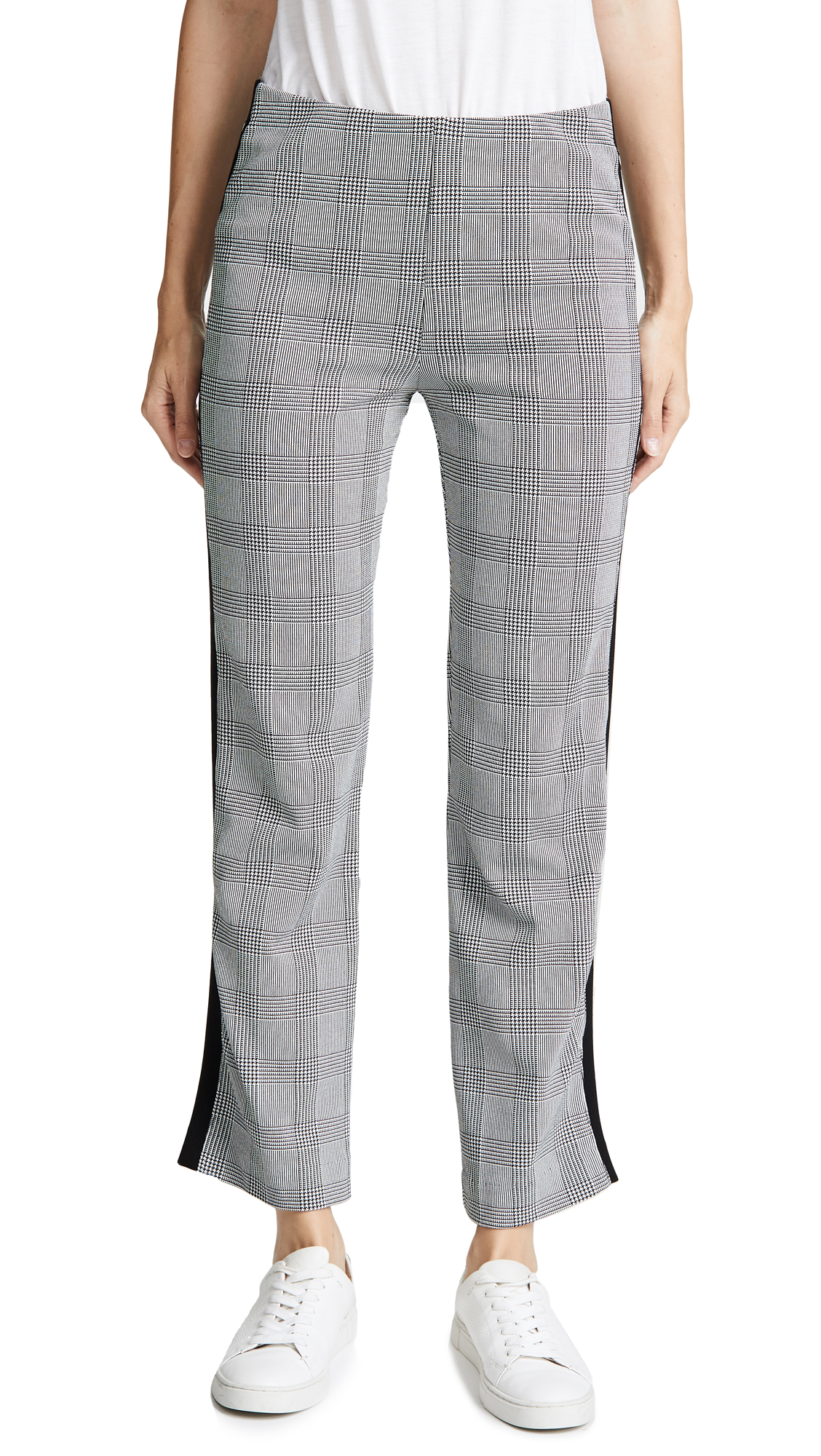 Three Dots Glenn Plaid Ponte Pants - Black/White