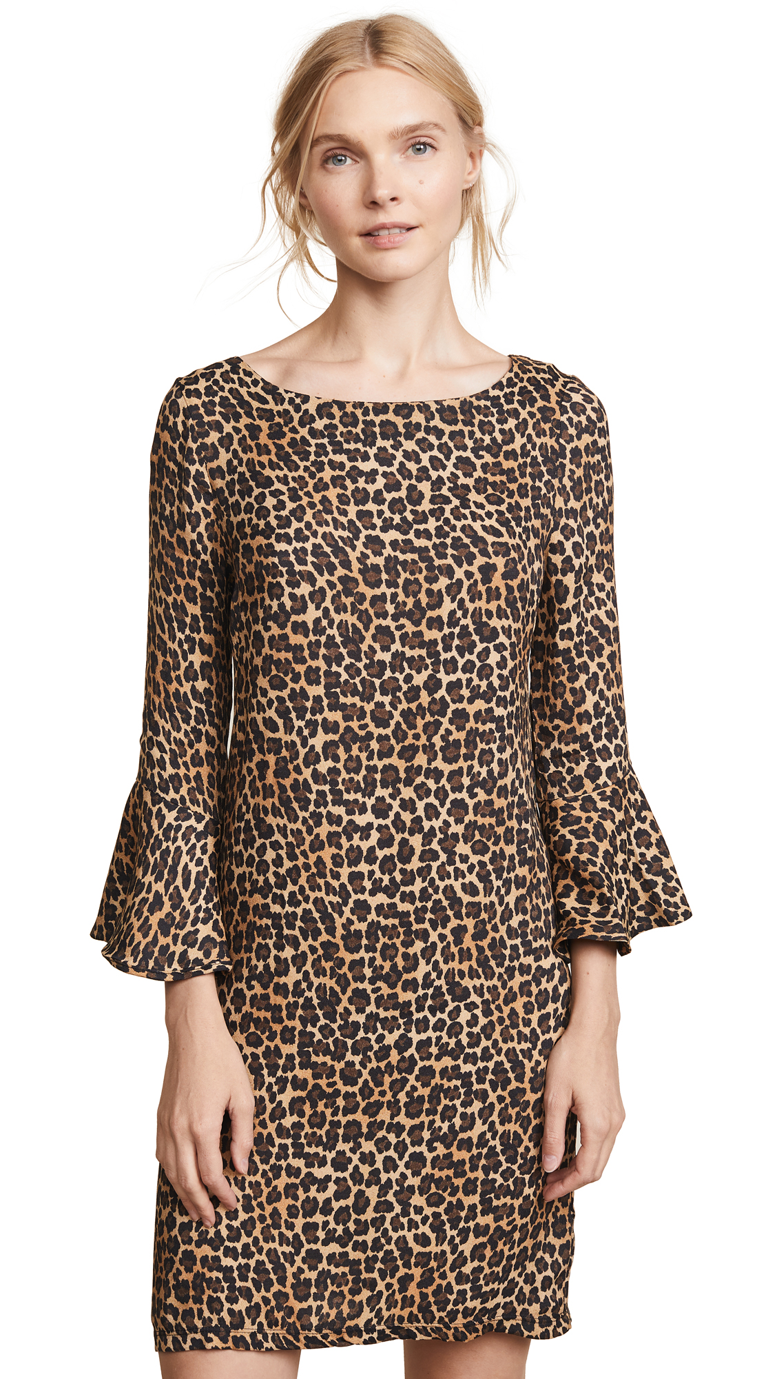 Three Dots Leopard Print Dress - Black/Camel