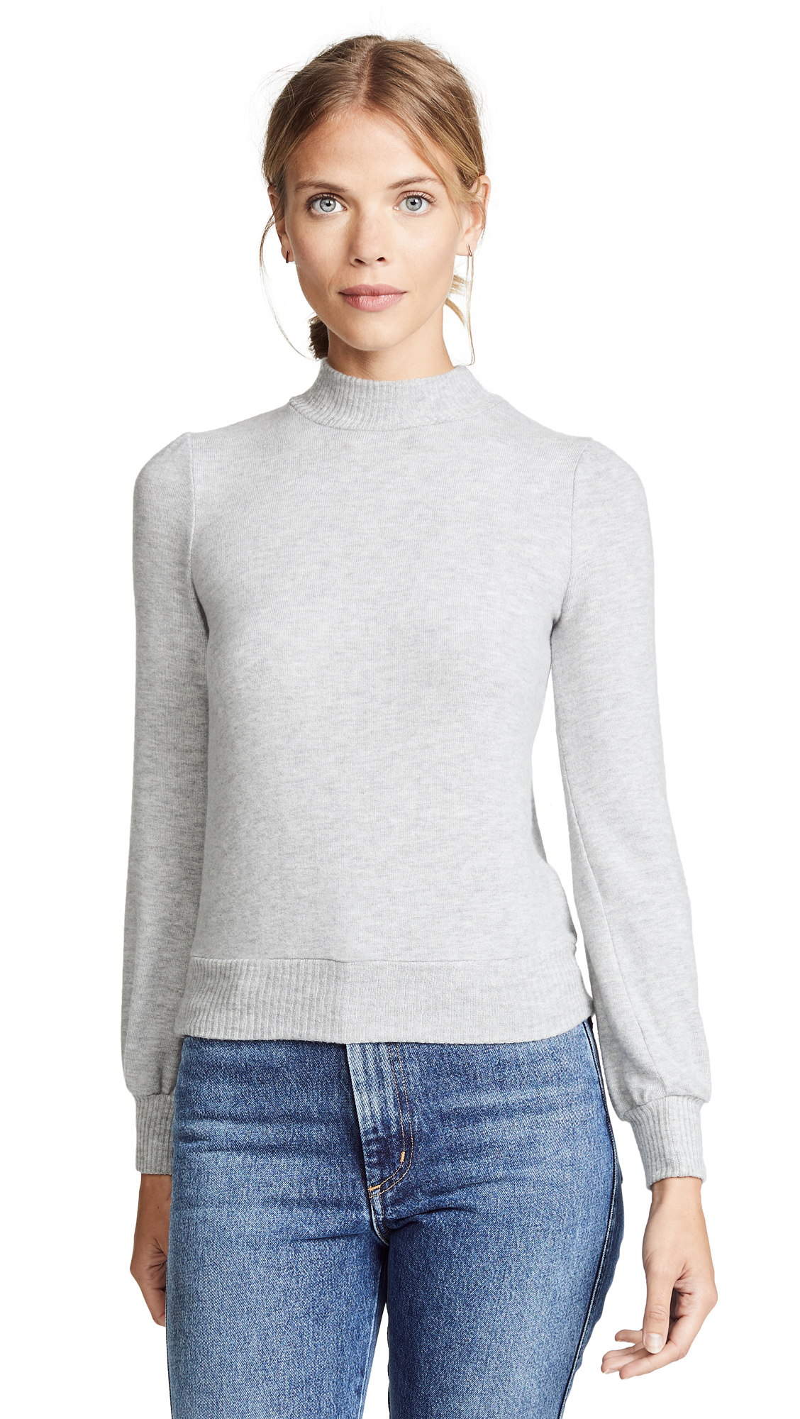 Three Dots Puff Sleeve Cropped Sweater In Granite