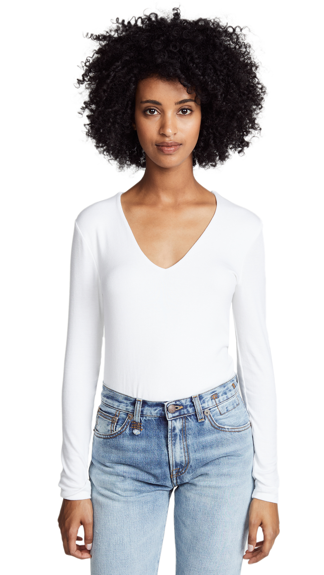Three Dots Long Sleeve V Neck Tee In White