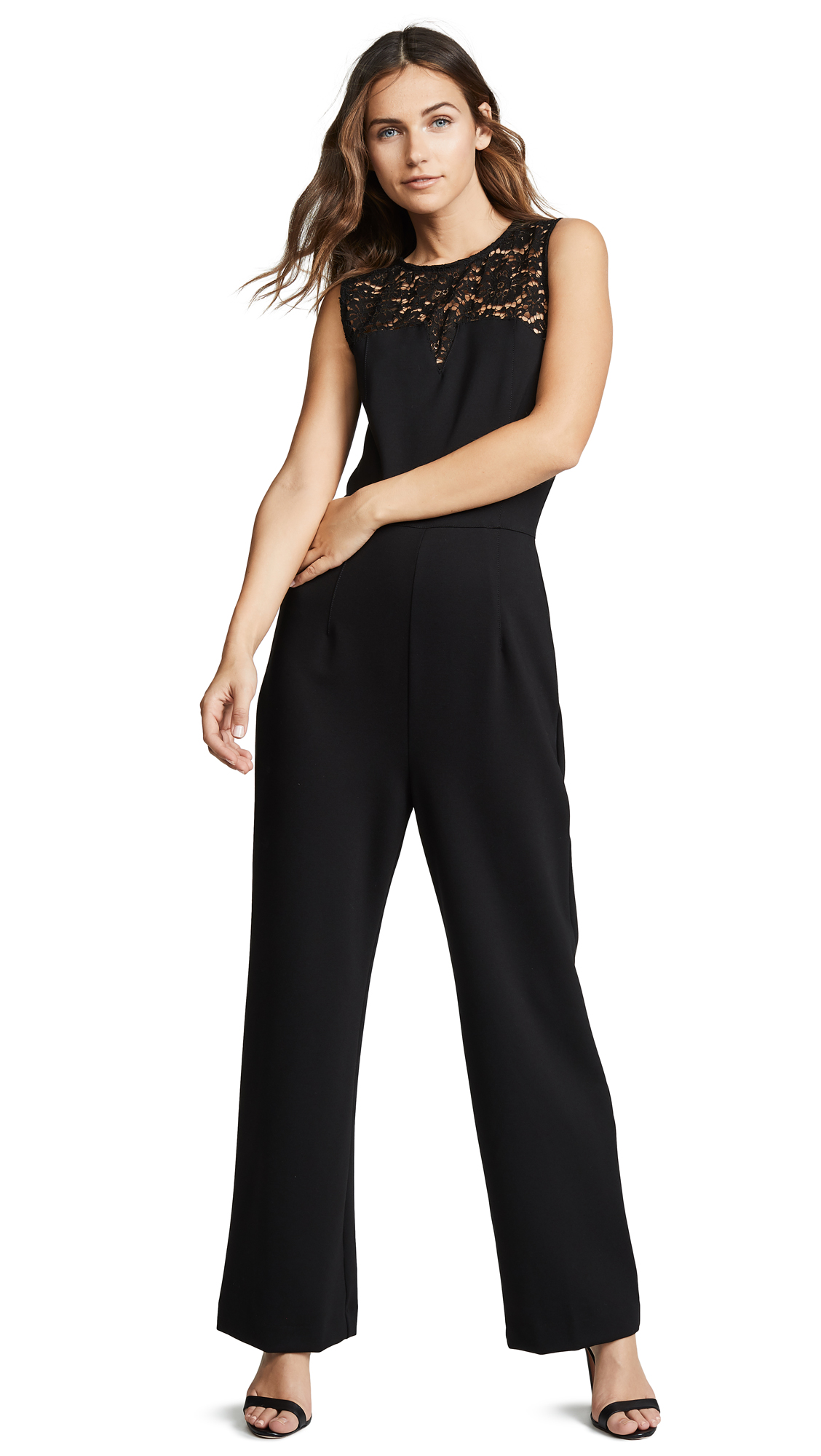 Three Dots Ponte & Lace Jumpsuit