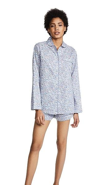 THREE J NYC Josephine Printed Cotton-Voile Pajama Set in Blue
