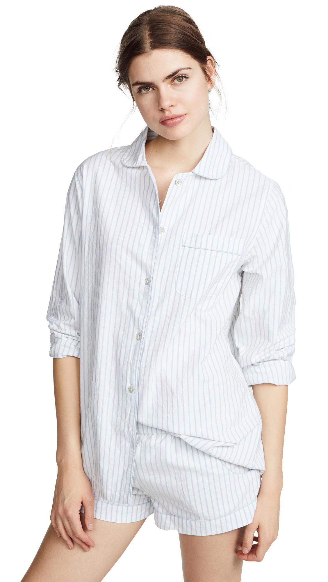 Three J NYC Josephine PJ Set - White With Light Blue Stripe
