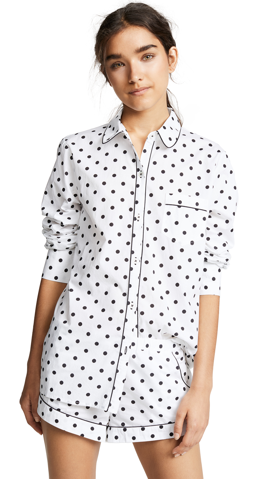 Fabric: Shirting Polka-dot print Button at placket Covered elastic at waist Patch breast pocket Slant hip pockets Shell: 100% cotton Wash cold Imported, India Measurements Measurements from size S Length: 26.5in / 67cm, from shoulder Rise: 8.25in / 21cm Inseam: 1.5in / 4cm Leg opening: 23.5in / 60cm