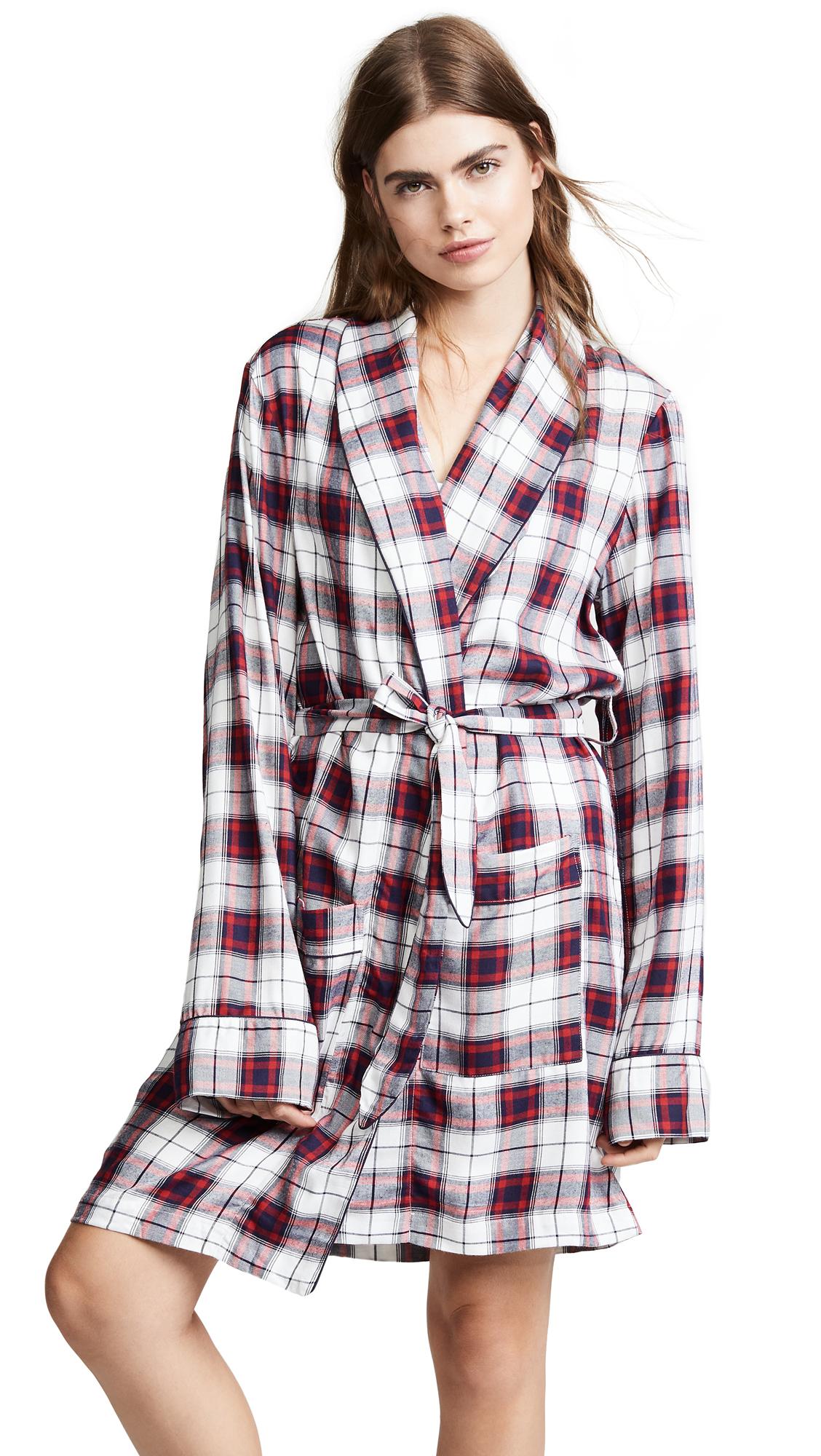 Three J NYC Flannel Robe - Cream/Red Check