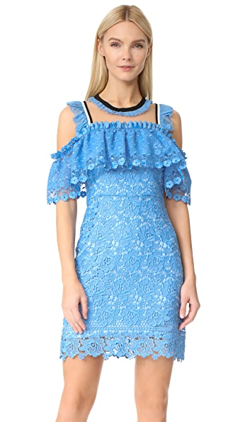 Three Floor Blue Bell Cold Shoulder Dress - Cornflower Blue/Nude