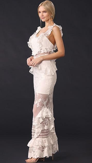 Three Floor Bouquet Lace Dress