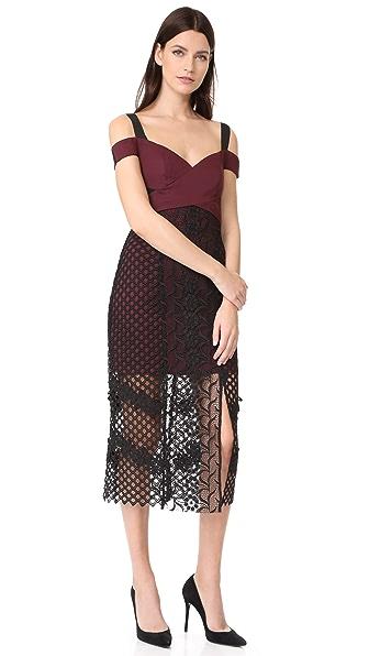 Three Floor Sonnet Dress In Grape/ Black